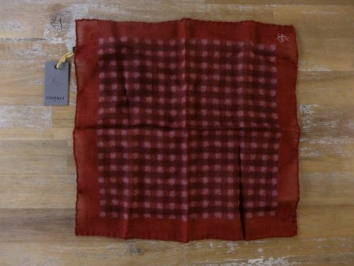 auth CANALI red wool pocket square handkerchief - NWT