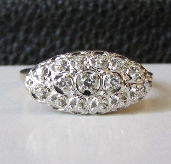 Vintage Two Tone Petite Diamond Princess Ring By Ringtique