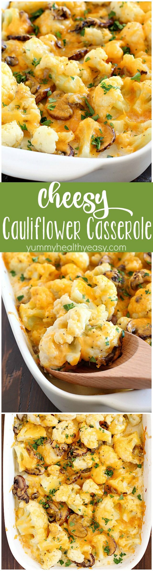Cheesy Cauliflower Casserole makes the most delicious side dish or meatless main dish! Full of flavor with cauliflower, sautéed mushrooms & leeks, and an easy cheesy sauce that won't pack on the calories. This is incredible! AD