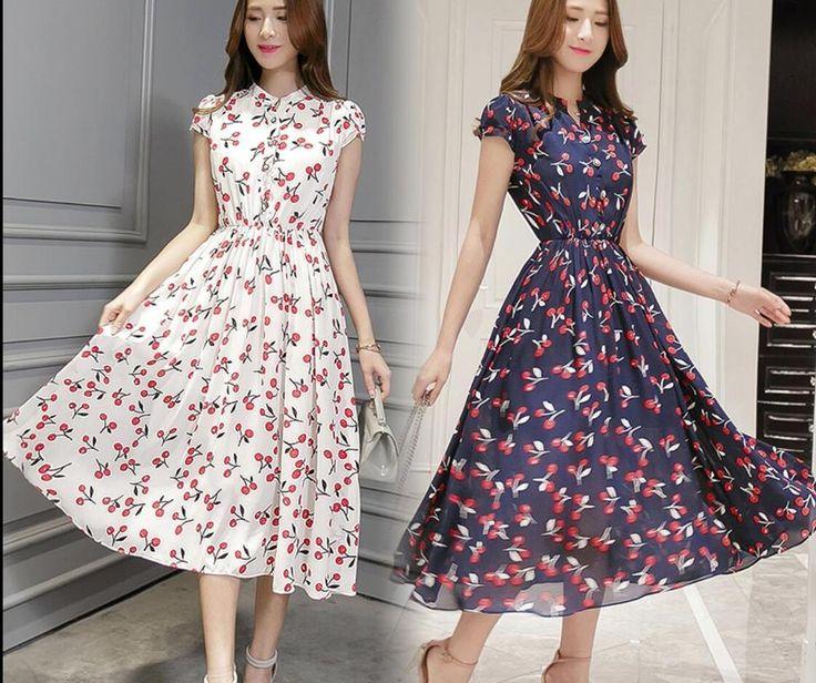 women fashion short sleeve Pure silk Slim fit Floral Print dress size M-3XL #Unbranded #Slimfit #Casual