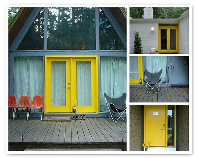 48 best row house exterior images on pinterest exterior - Gray house yellow door ...