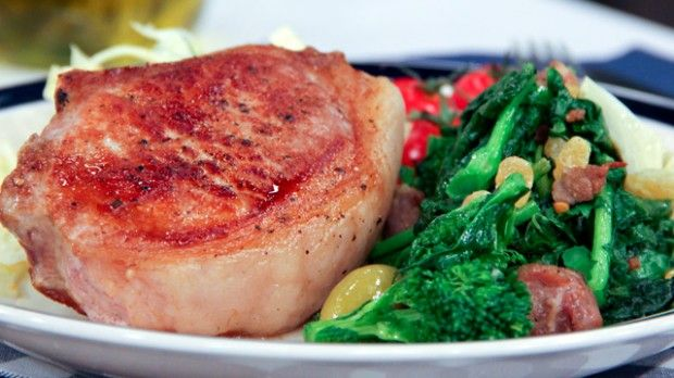 Pork Chops with Artichokes, Sausage and Rapini |