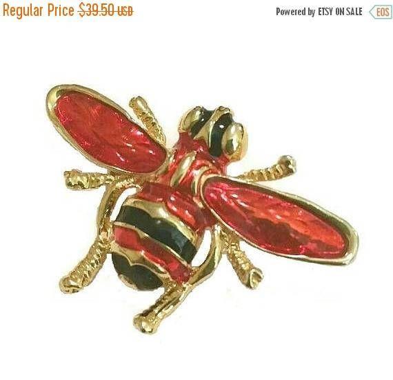 BLACKFRIDAY SALE HUGE Vintage Bee Brooch Red & Gold Bumblebee