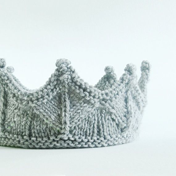 Silver Gray Lace Knit Knight Crown - Boy Headband Crown.