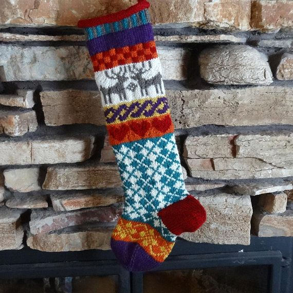 Christmas Stocking, Personalized Knit Christmas Stocking, Custom Christmas Stocking, Knitted Christmas Stocking, Brown Reindeer, Teal Argyle