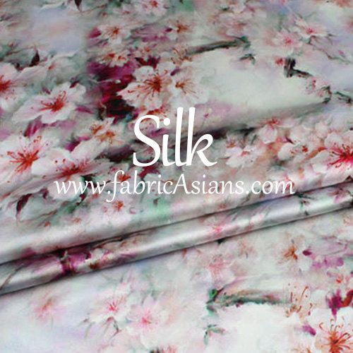 SALE - Pink Cherry Blossom Print Silk. Lustrous, smooth, beautiful drape, stretch, non-sheer silk fabric. It breathes well, but does not wrinkle