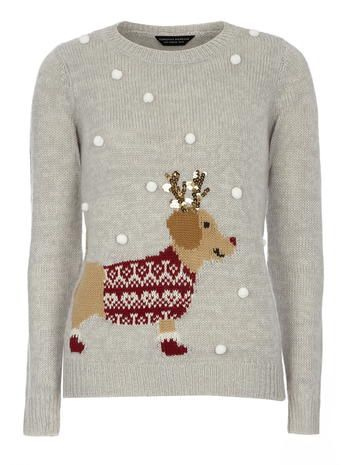 Grey Pom Pom Sausage Dog Christmas Jumper