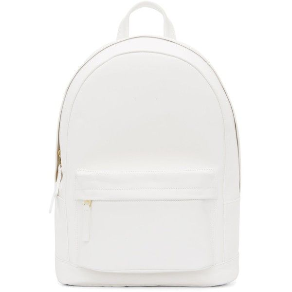 Pb 0110 Matte White Small Leather Backpack found on Polyvore