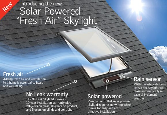 Remote-controlled, solar-powered skylight requires no wiring, which makes for easy and cost-effective installation. The solar panel will work on cloudy days and with indirect light. It does not have to be exposed to direct sunlight to function. With the integrated rain sensor the solar powered skylight will close automatically, in case of inclement weather.