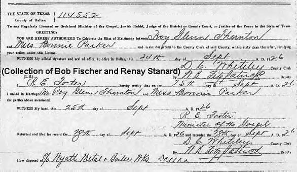 Bonnie Parker & Roy Thornton's marriage license