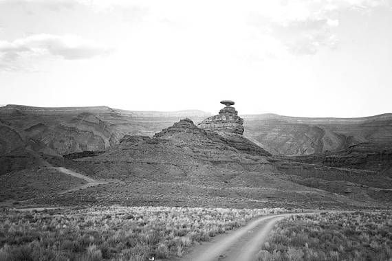 Black and White Travel Photography Mexican Hat Utah Southwest Desert Photo