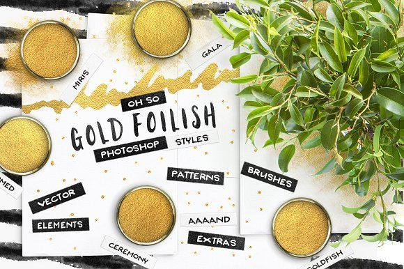Gold Foil Styles + EXTRAS! by Pink Coffie on @creativemarket