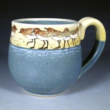 Flock of Plovers Mug - Hand Painted Pottery  by Nan Hamilton Boston MA: