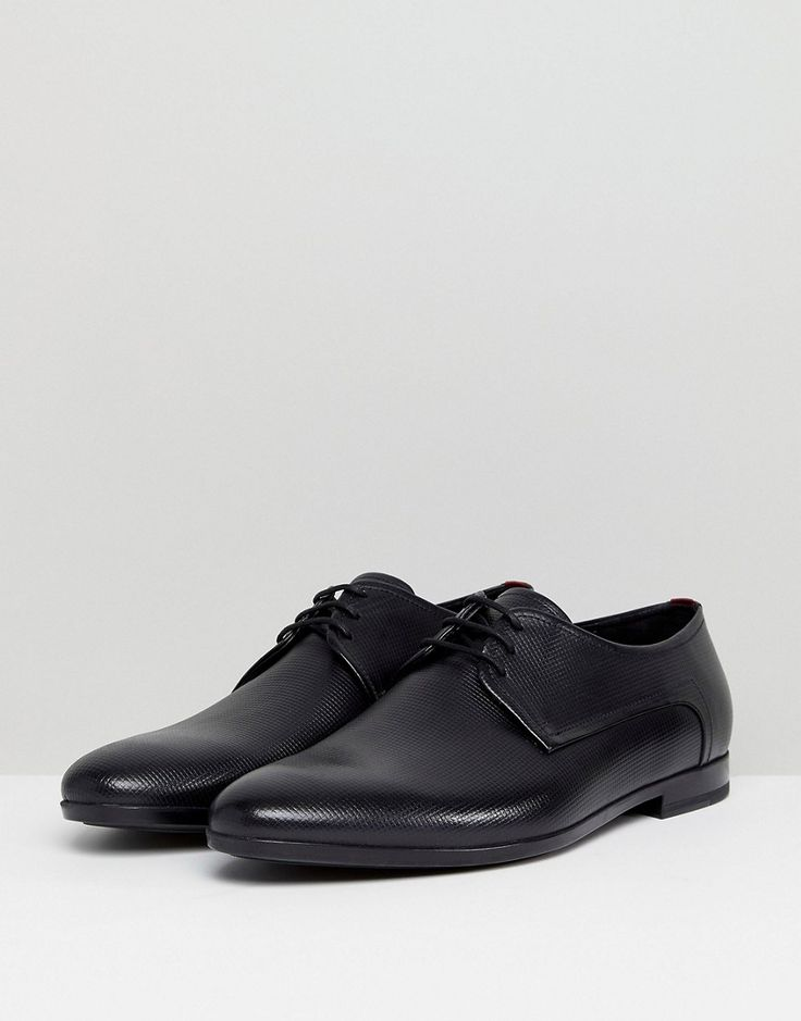 HUGO Pariss Embossed Calf Leather Lace Up Derby Shoes in Black - Black