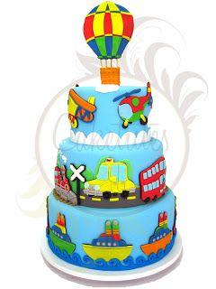 Caketutes Cake Designer: Festa Transportes Transportation Party - Cake , car , ship , train ,  plane,  hot air balloon , helicopter , cruise