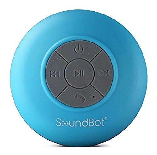 SoundBot® SB510 HD Water Resistant Bluetooth 3.0 Shower Speaker, Handsfree Portable Speakerphone with Built-in Mic, 6hrs of playtime, Control Buttons and Dedicated Suction Cup for Showers, Bathroom, Pool, Boat, Car, Beach, & Outdoor Use (Blue)