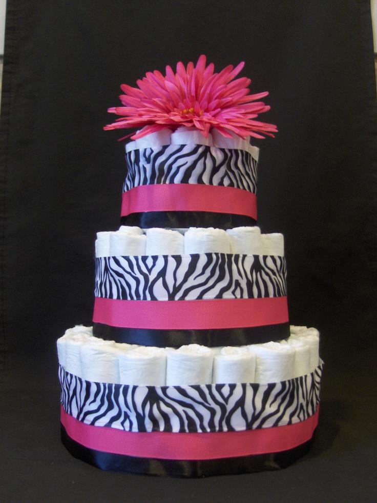 Hot pink zebra diaper cake baby shower centerpiece flower Brookes & Company. $49.99, via Etsy.