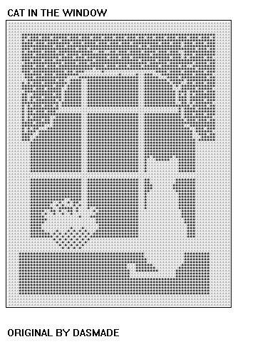 Filet Crochet Cat In the Window Pattern afghan doily by dasmade