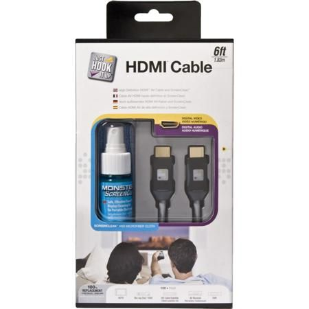 Monster CABLE JHIU CLN HDMI-6 1.83m  — 1005 руб. —  Кабель видео цифровой HDMI длиной 1,83м. + Чистящее средство для экрана LCD/плазменного телевизора