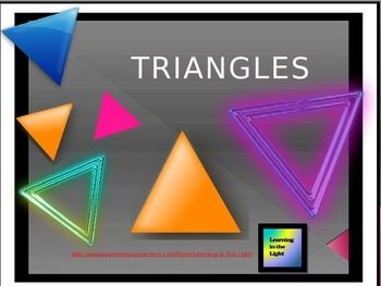 This editable power point will help your students identify and visualize a variety of triangles. Included are definitions and examples of right triangles, acute triangles, obtuse triangles, equilateral triangles, isosceles triangles and scalene triangles with animation.