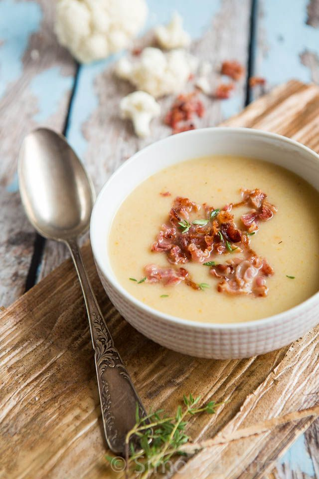 Cauliflower Soup with Bacon, recipe and photograph by Simone's Kitchen