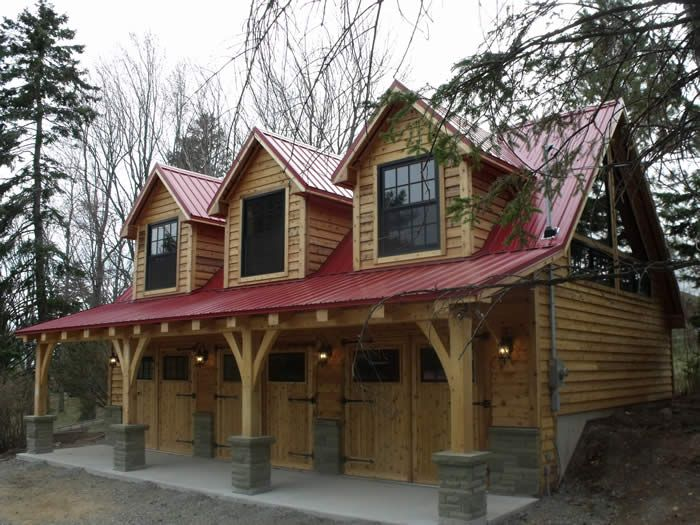 The 25 best ideas about timber frame garage on pinterest Log garage kits with loft