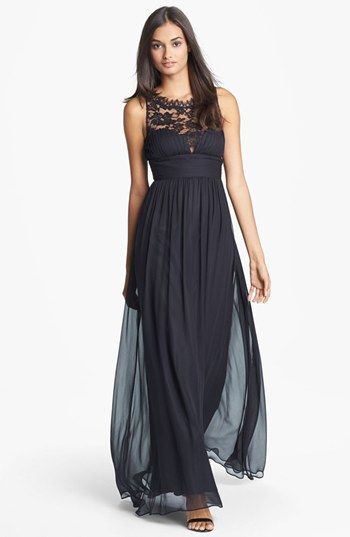 Aidan Mattox Embellished Lace & Silk Chiffon Gown (Online Only) | Nordstrom