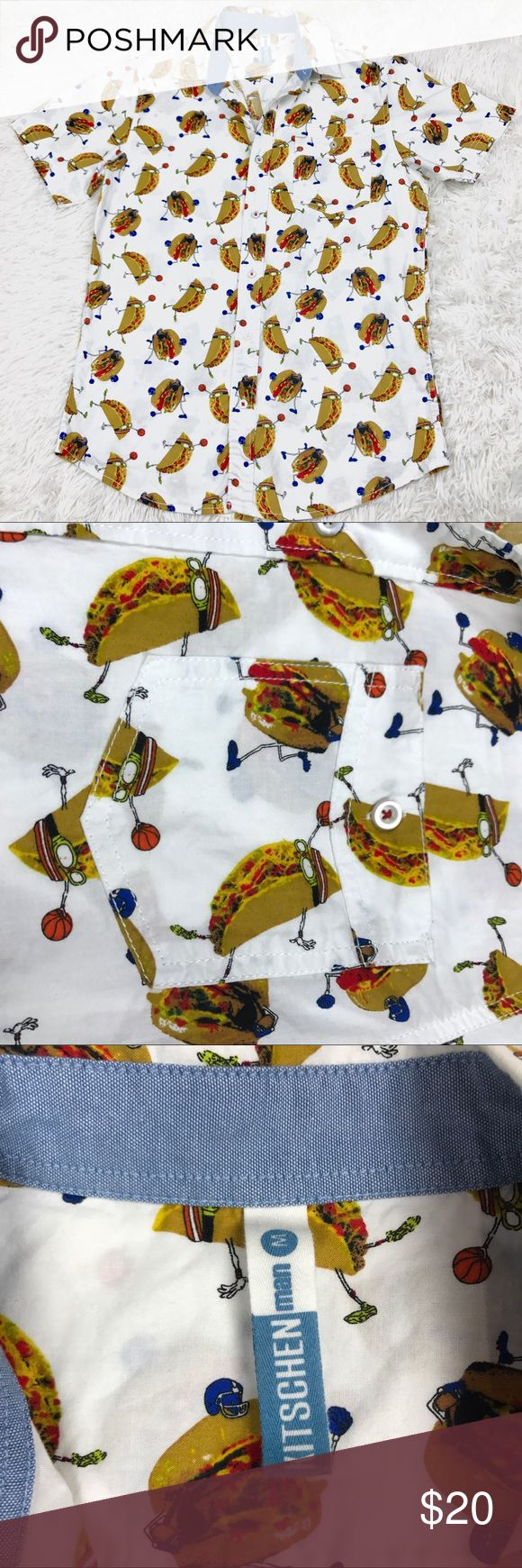 Taco Hamburger Football Basketball Button Down Men's Taco Hamburger Football Basketball Novelty Button Down  Hipster   Preowned  Size- M  Sizes/Fit vary by Brand & Style   MEASUREMENTS • Bust - 20 inches • Length - 28.5 inches   All measurements are approximate and are taken with the item laying flat.   Please see all the pictures of the item   Message me with any questions before purchase    From a smoke & pet free home. Bin A1-15 Kitschen Man Shirts Casual Button Down Shirts