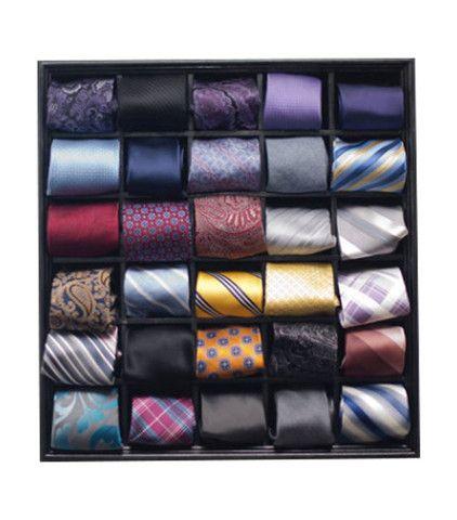 30 Tie Organizer, Wall Hanging Display Box For Organizing Neck Ties,  Bowties, Pocket