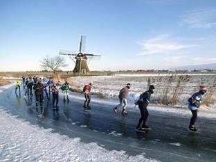 "The ''Elfstedentocht"" - the Dutch iceskating tour (competition) for amateurs and professional iceskaters, on nature ice along eleven cities through the provence of Friesland."