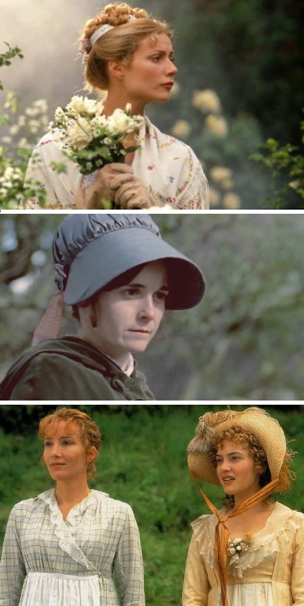 Jane Austen's Heroines from the NINETIES - Gwyneth Paltrow as Emma Woodhouse, Emma (1996) - Amanda Root as Anne Elliot,  Persuasion (1995) - Emma Thompson as Elinor Dashwood & Kate Winslet as Marianne Dashwood, Sense and Sensibility (1995)