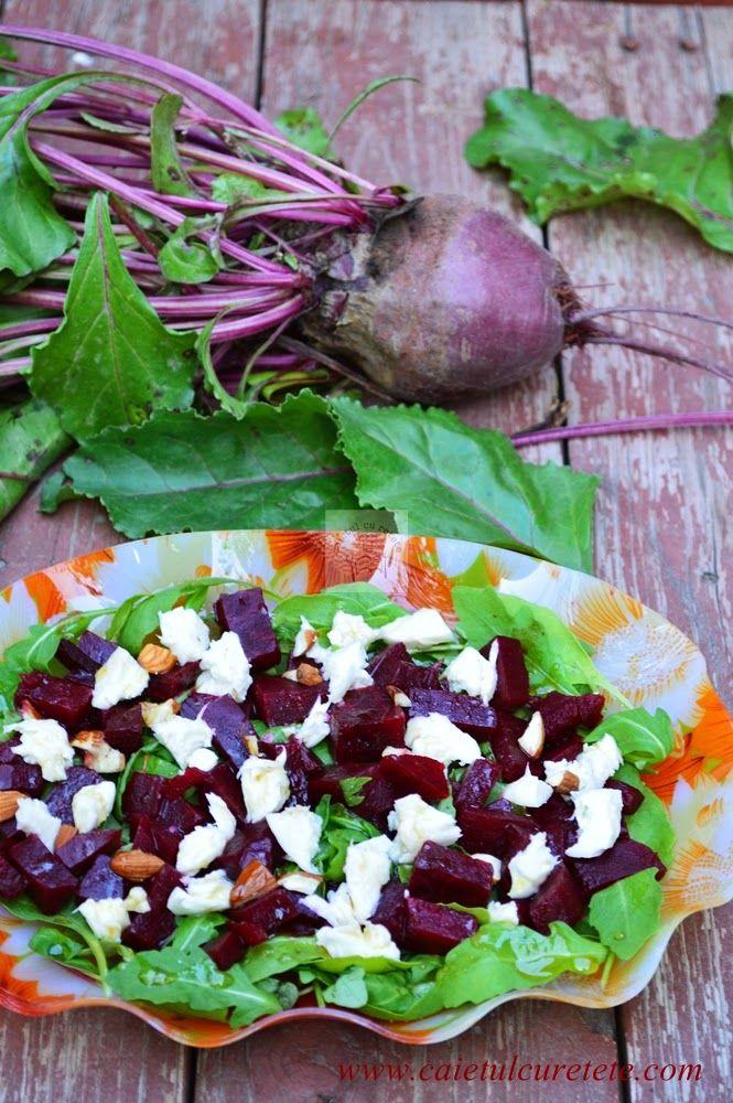 CAIETUL CU RETETE: Salata de sfecla rosie cu mozzarella si rucola