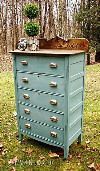 A Modern Update For a Timeless Dresser Custom mix color using Anne Sloan chalk paint in Louis Blue, Antibes Green, Florence, English Yellow and Napoleonic Blue