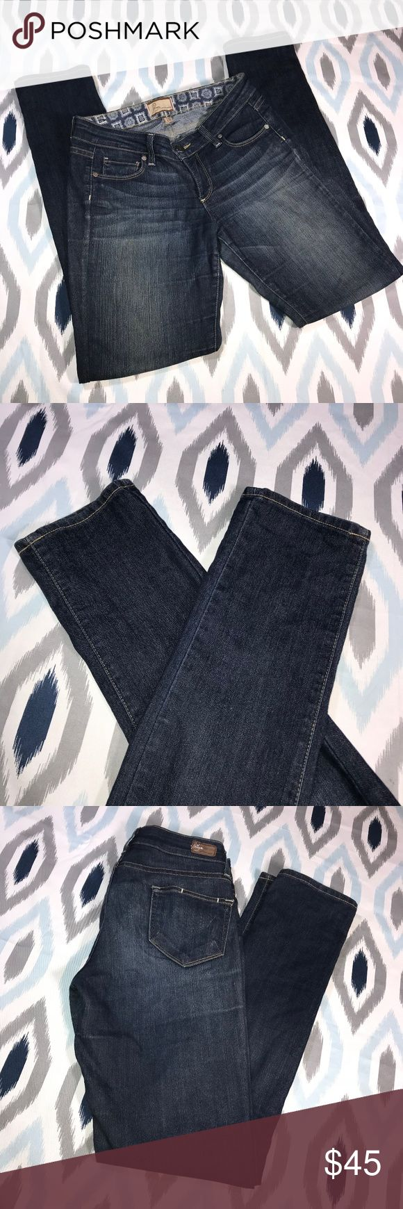 Paige Distressed Wash Peg Skinny Leg Jeans * Paige Distressed Wash Peg Skinny Leg Jeans * Size 26 * Made of 80% cotton, 19% polyester & 1% spandex.  * Pre-owned, but in great used condition. No holes, stains or pilling. These jeans do have very light puckering around the zipper. Please refer to last photo for reference. You can't really notice it!  * Measurements: Waist laying flat is 14 1/2 inches. Length is 39 1/2 inches. Inseam is 31 1/2 inches. Rise is 7 1/2 inches.   JE108 PAIGE Jeans…