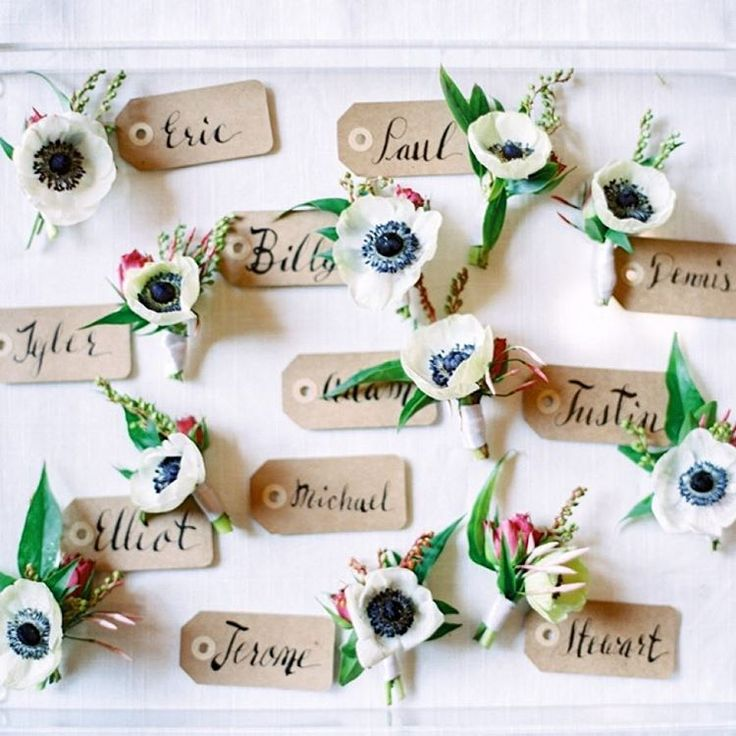 """""""#Anemone #boutonnieres for days! #boutonniere   Photography: @____cocotran   Floral Design: @tangoandfoxtrot   Bridesmaid Dresses: @jennyyoonyc"""""""