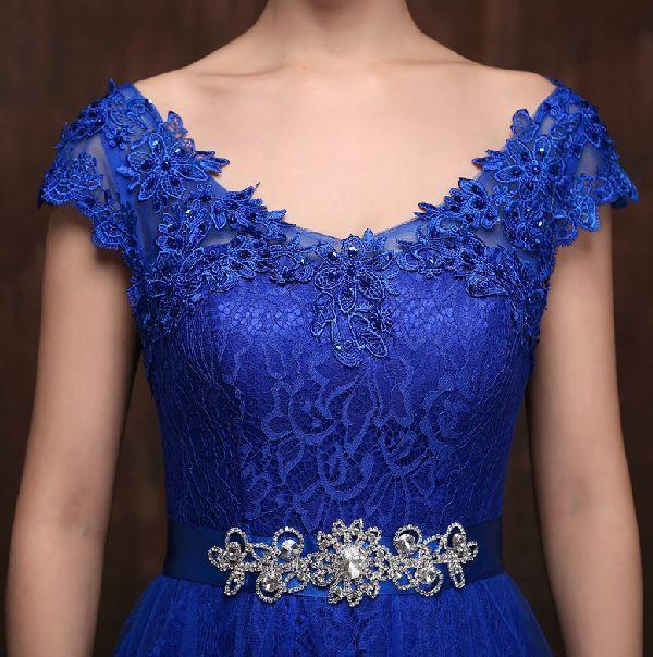 Robe demoiselle d'honneur new lace cap manches bleu royal jaune violet vert émeraude turquoise de demoiselle d'honneur robes longues de mariée