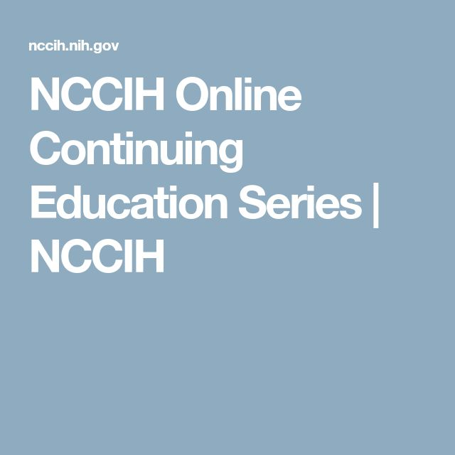 NCCIH Online Continuing Education Series | NCCIH