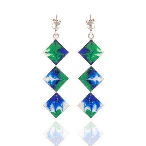 Cercei lungi unicat, din argint, picatati manual. Silver hand painted earrings.   #jewelry #silver #cercei #argint #bijuterii #roxoboutique