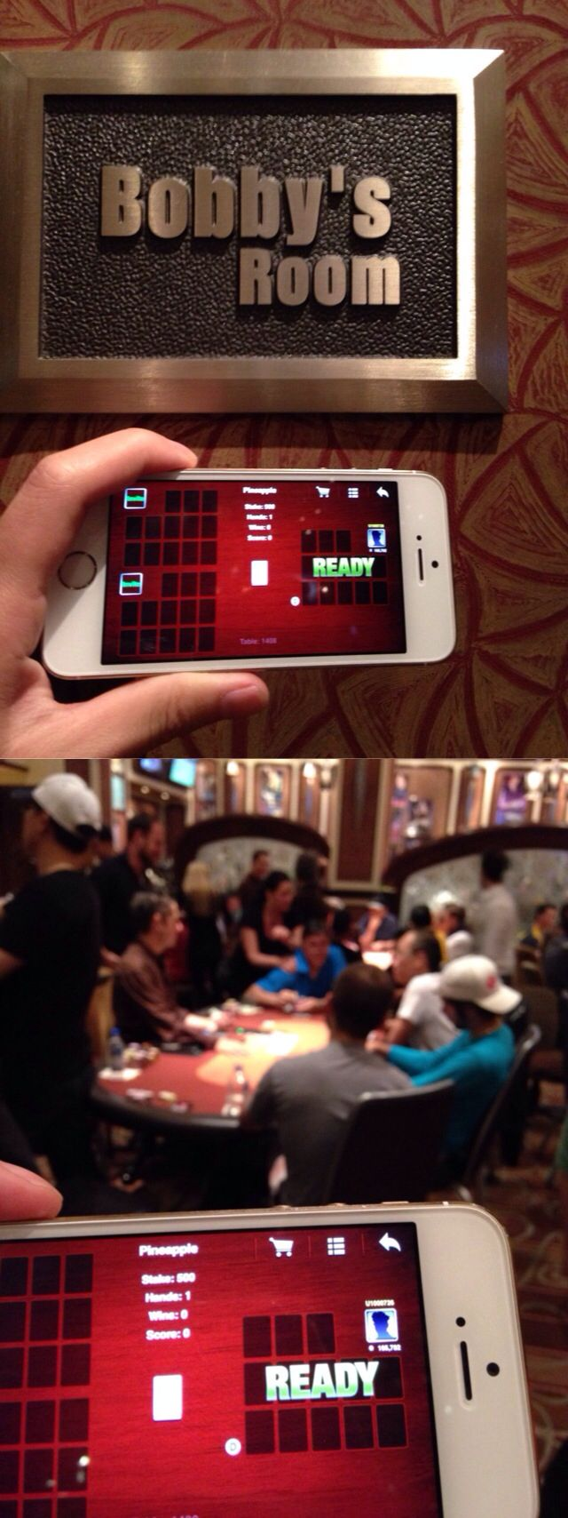 Oye Chinese Poker in Bobby's Room, Bellagio. Thanks dude, why not show your face to surprise your fans. :)