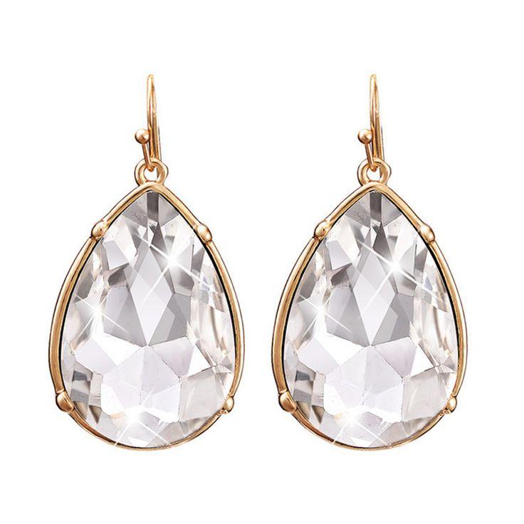 Gratis Pengiriman New Arrival Fashion Wanita Shiny Big Kristal Water Drop Pernyataan Anting-Anting Hadiah Pesta Pernikahan