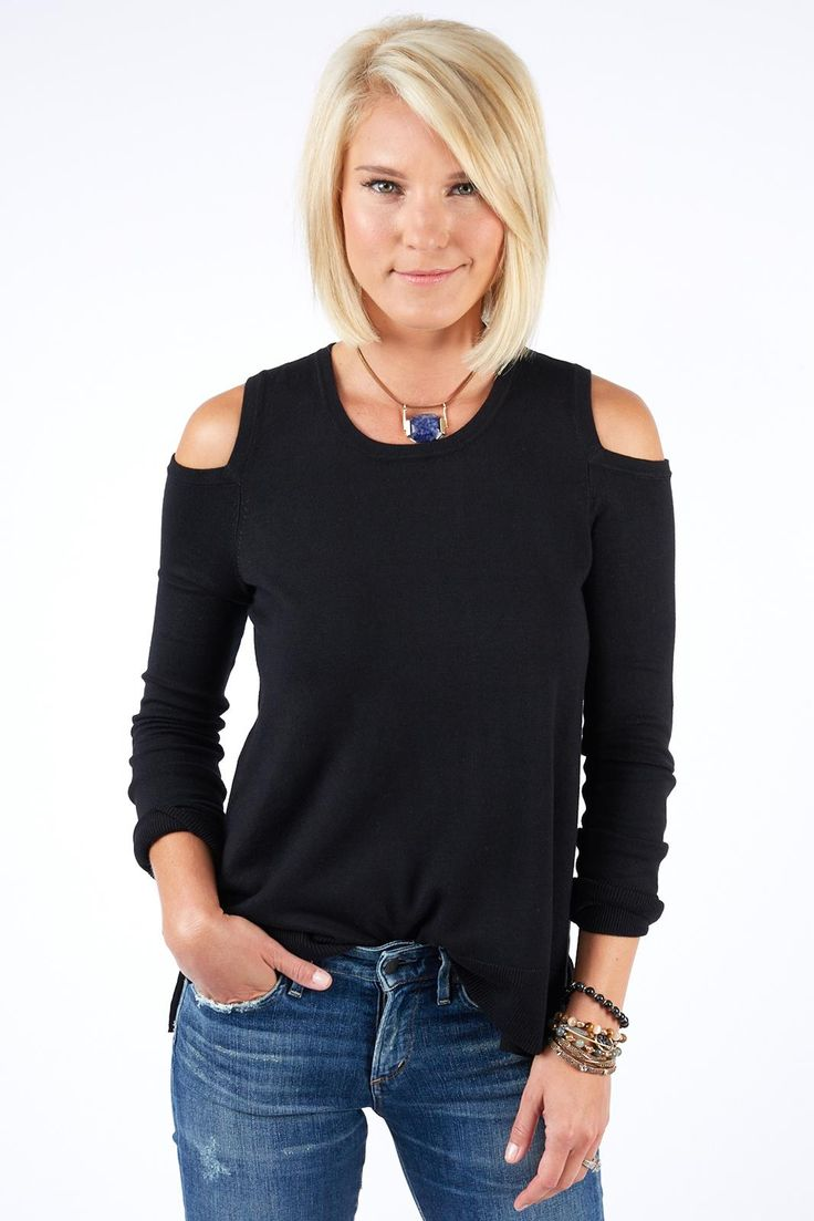The Gaby Cold Shoulder Sweater by Jamison is an update to your standard black sweater. Dress it up for date night, or pair with skinnies and sneakers for a more casual look.