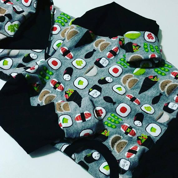 Sushi Grow with me Hoodie - Check out this item in my Etsy shop https://www.etsy.com/ca/listing/587783021/sushi-hooded-sweatshirt-infant-size
