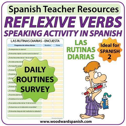 spanish reflexive verbs speaking activity daily routines los verbos reflexivos las rutinas. Black Bedroom Furniture Sets. Home Design Ideas