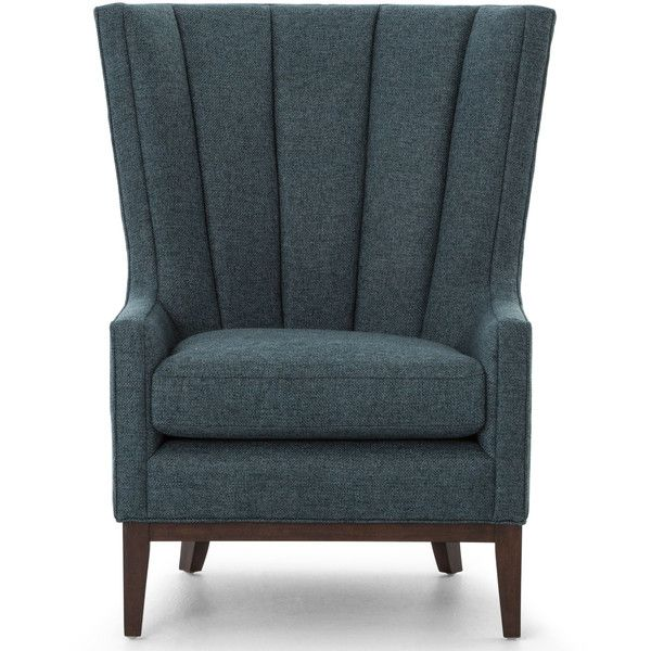 Vida Modern Classic Dark Peacock Teal Fabric Wood Wing Armchair ($944) ❤ liked on Polyvore featuring home, furniture, chairs, accent chairs, wooden chairs, teal blue accent chair, teal accent chair, plush chair and contemporary accent chairs