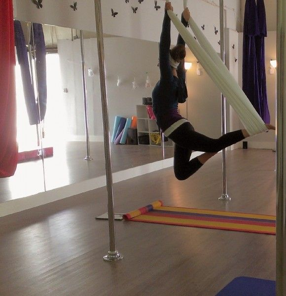 Aerial Yoga Vertical Fusion...very nice exercise, especially for your back!