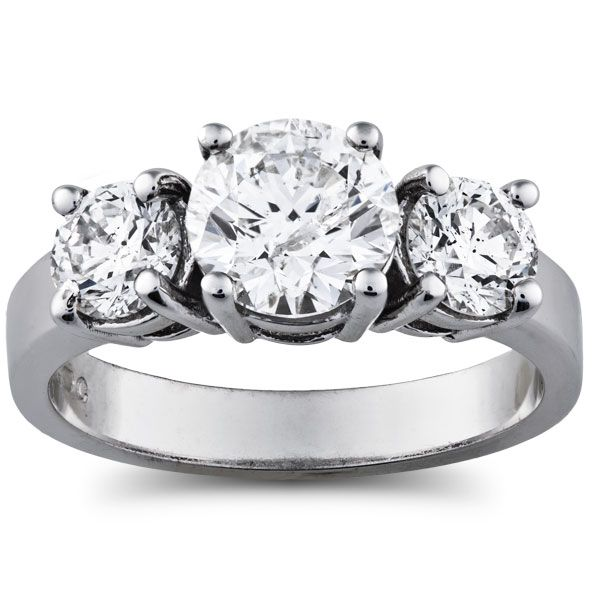3 7/8 Carat Diamond 3-Stone Ring in 14k Gold