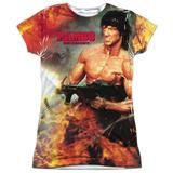 Submerge yourself in the world of Rambo with this Become War Sublimated Junior T-Shirt. Now you can live out your fantasy and wear this officially licensed, sublimated junior t-shirt made of 100% polyester. Show the world how much you love Rambo and get it today.  This garment is hand-printed on the front and back using a dye sublimation printing process. Each t-shirt is handmade and unique. Expect to have smudges and blurs over seems as well as areas of creasing near edges.