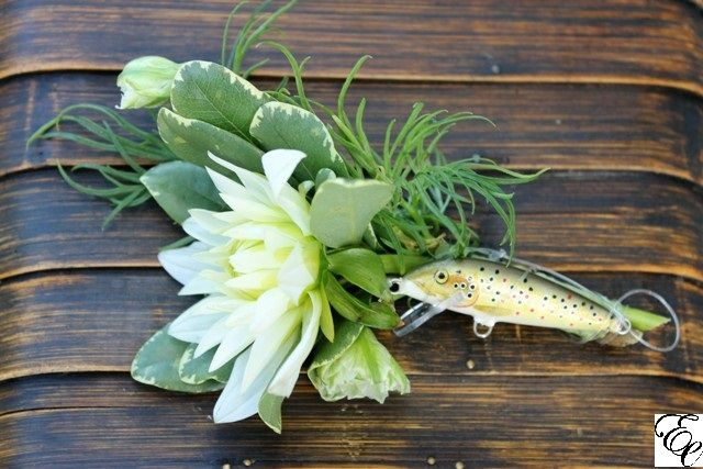 Unique Outdoors man Boutonniere with Fishing Lure   White Dahlia   Designed by Engaging Events