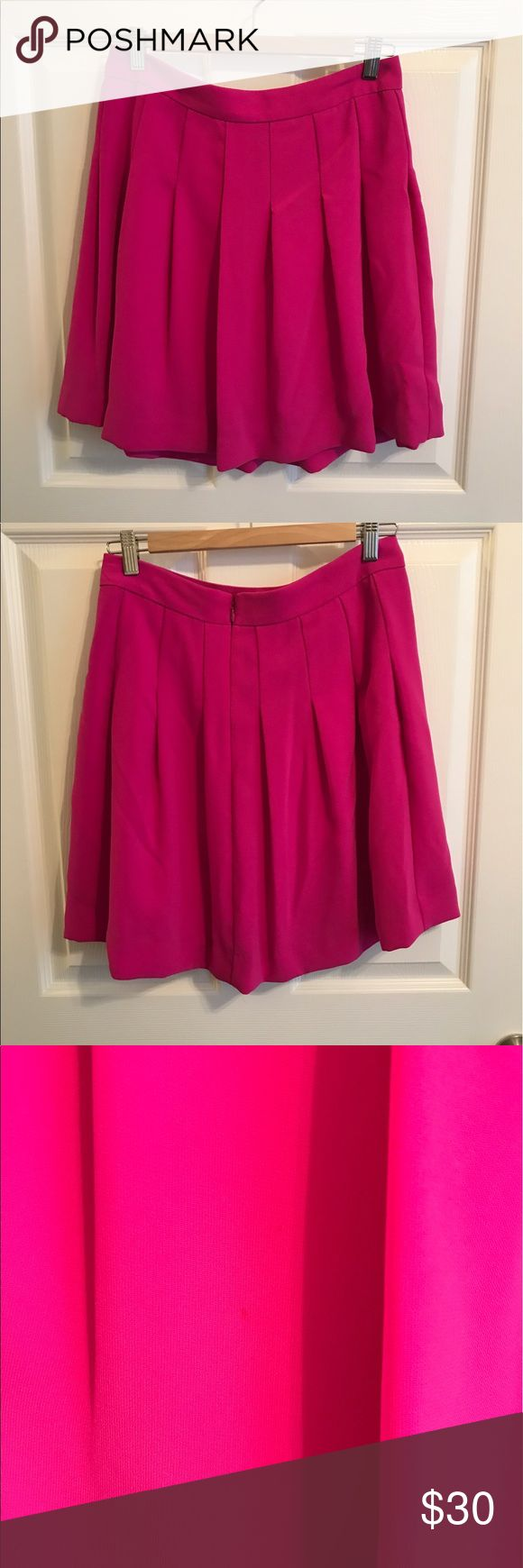 Bright & Fun Pleated Skirt Bright fuchsia pleated skirt that falls above the knee. Back zipper and very small stain on front...picture attached - not noticeable. Worn only a few times. J. Crew Skirts Mini