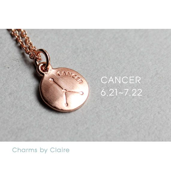 Hey, I found this really awesome Etsy listing at https://www.etsy.com/listing/463980141/cancer-zodiac-disc-charms-rose-gold